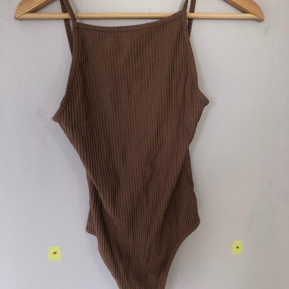 brown open back bodysuit